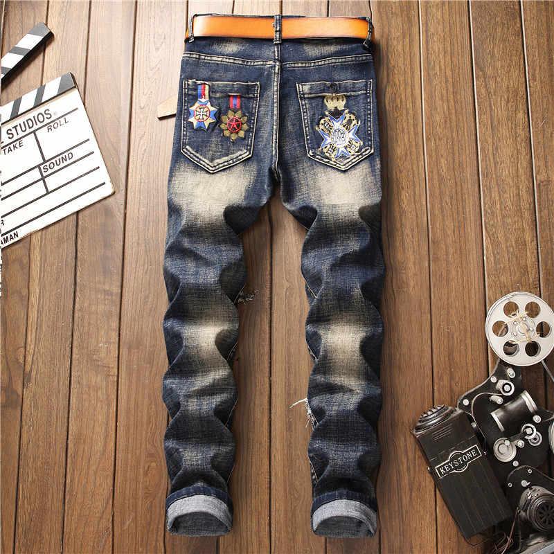 2019 HERBST Winter männer Patchwork Zerrissene Bestickt Stretch Jeans Trendy Löcher Gerade Denim Trouers