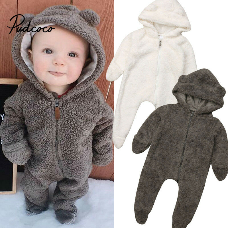 0-2Years Toddler Newborn Kid Baby Boy Girl Christmas Gift Zip Up Rompers  Plush Long Sleeve Jumpsuit Warm Autumn Spring Costumes