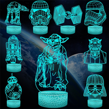Cartoon Star War 3D Crack Lava LED Lamp Table Desk Night Light Multicolor Flash Mood Illusion Change Touch Switch Gifts