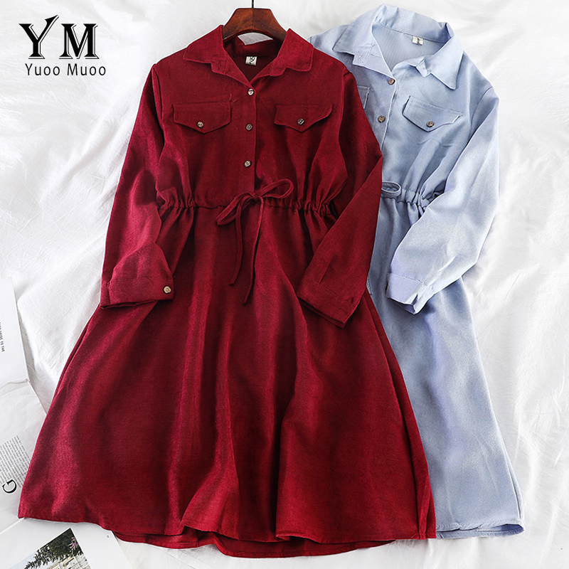 YuooMuoo Vintage Pockets Design Women Shirt Dress 2019 Autumn Winter Drawstring A Line Midi Dress Elegant Ladies Office Dresses