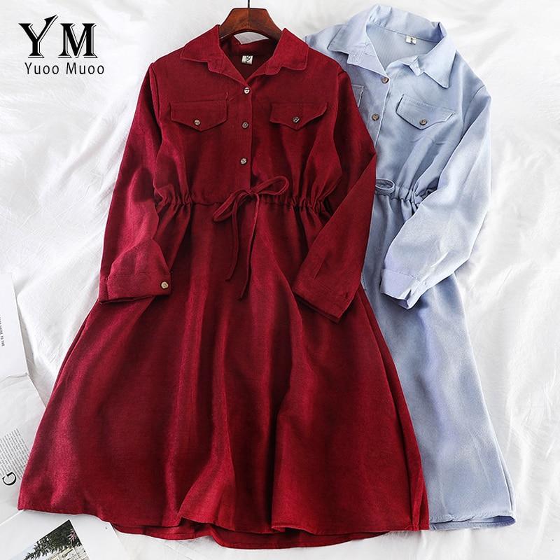 YuooMuoo Vintage Pockets Design Women Shirt Dress 2020 Autumn Winter Drawstring A Line Midi Dress Elegant Ladies Office Dresses