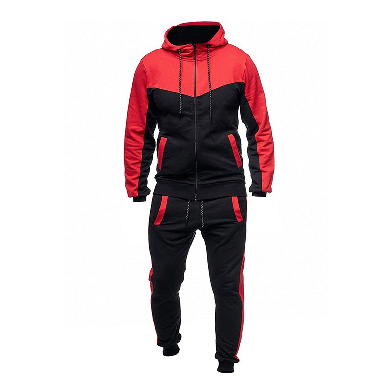 DIHOPE 2020 Men Long Sleeve Hoodies+Pants Sets Male Tracksuit Patchwork Sport Suit Men's Gyms Set Casual Sportswear Suit Fit