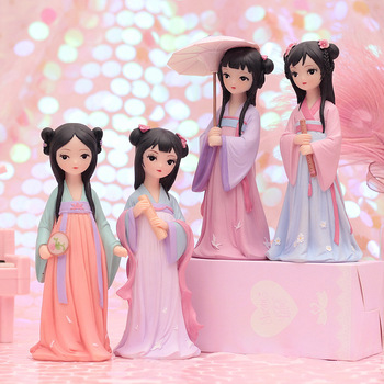 4 type Chinese tradition princess Hanfu princess doll toys Retro fashion Bedroom Ornament toys Gift For Girl