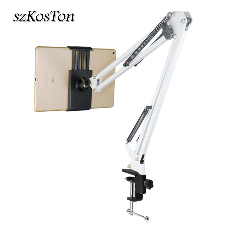 Tablet Holder Long Arm Bed/Desktop Clip Bracket For Ipad 2 3 4 Air Mini Phone Tablet Stands Support For 110-175mm Width Device