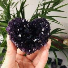5-8cm doğal kalp şekli Uruguay ametist küme kuvars kristal şifa numune
