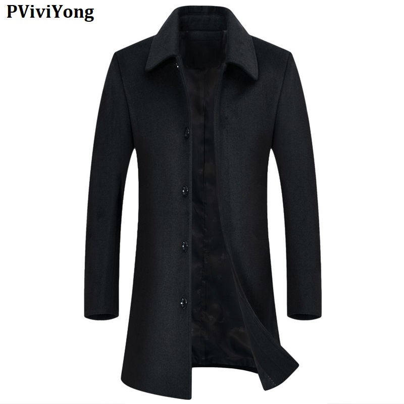 PViviYong 2019 new arrival high quality wool trench long coat men, casual jackets men parka  Plus-size M-7XL 1716