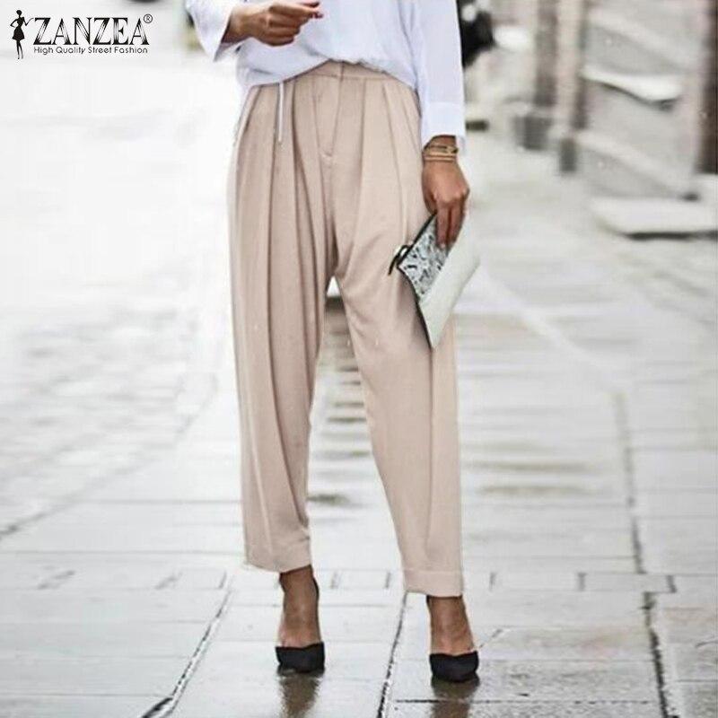 Женские летние брюки ZANZEA 2020 элегантные шаровары Повседневные длинные брюки на молнии спереди Женские однотонные брюки палаццо репа плюс размер Брюки       АлиЭкспресс