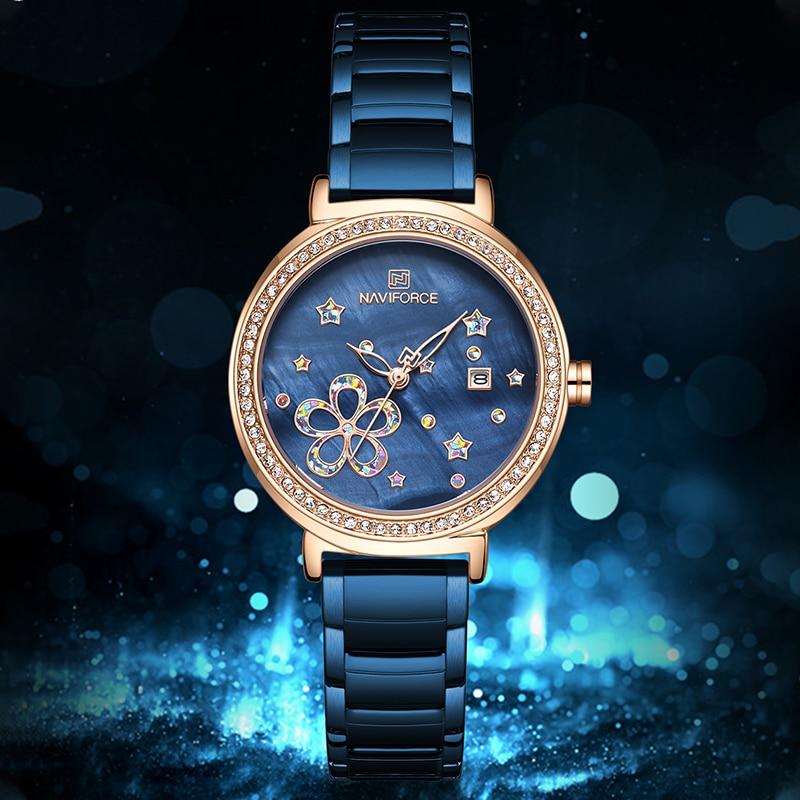 Women's Luxury Watches NAVIFORCE Top Brand Women Fashion Quartz Watch Ladies Stainless Steel Waterproof Wristwatch Date Clock
