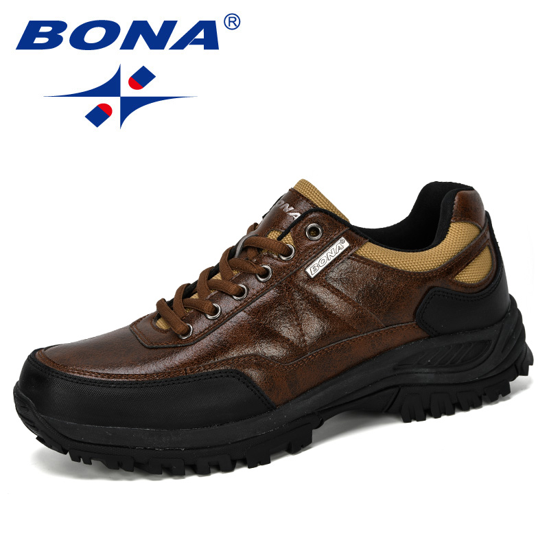 BONA 2019 New Designer Hiking Shoes Men Travel Shoes Outdoor Non-Slip Sneakers Man Lace Up Trekking Jogging Shoes Male Trendy
