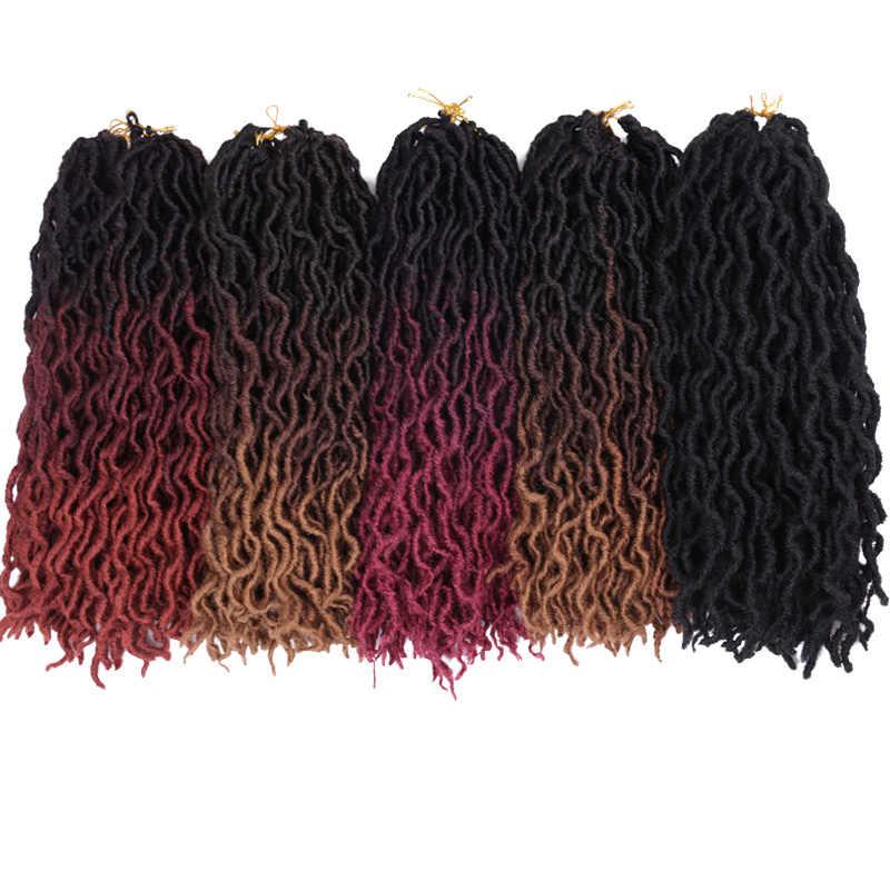 LuxuryFor Braiding Ombre Faux Locs Curly 20 cali 24 korzenie miękkie szydełkowe warkocze strach czeski Gypsy Locs przedłużanie włosów