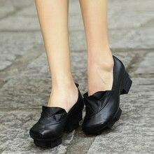 цены Xiangban 2019 platform heels black women shoes pointed toe genuine leather pumps elegant square heel 1236D2