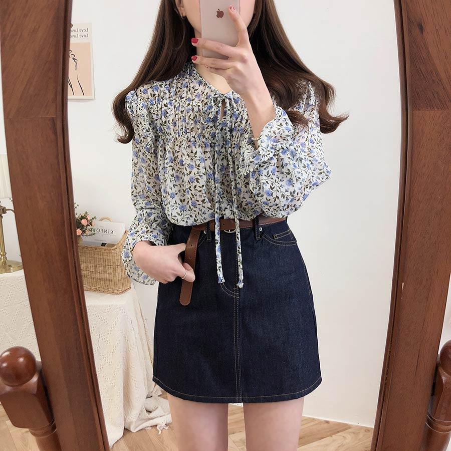 H84593c4a3431471d84e313010cab20a7V - Spring / Autumn Lace-Up Collar Long Sleeves Floral Print Blouse