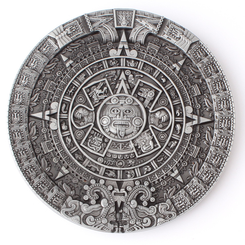 Belt DIY Aztec Solar Calendar Belt Buckle Mysterious Ancient Mayan Civilization Pattern