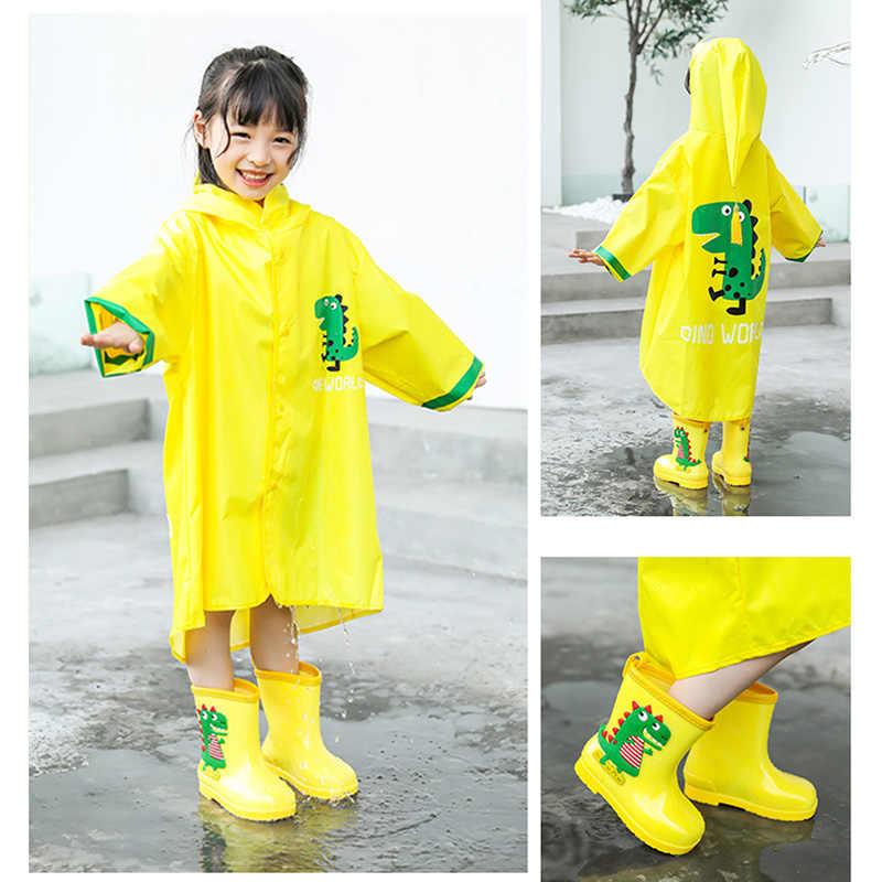 Jas Hujan untuk Anak Dinosaurus Kuning Jas Hujan Anak Tahan Air Anak-anak Jas Hujan TK Hujan Kelas Besar Poncho
