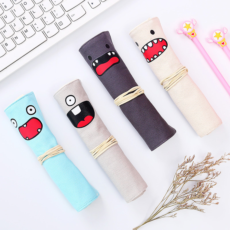 Cute Roll Pencil Case Canvas Pen Curtain Multifunctional Creative Student Personality Pencil Bag Stationery Bag School Office