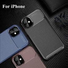Luxo coque de fibra carbono para iphone 11 caso tpu macio para iphone 11 pro capas à prova de choque para iphone x xr xs max 6 7 8 mais caso