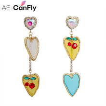 AE-CANFLY Elegant Long Dangle Tassel Colorful Rhinestone Crystal Irregular Drop Temperament Earrings Accessories for Women