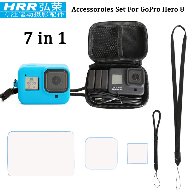 7in1 For GoPor Hero 8 Black Accessoires,Silicone Cover/EVA Case Bag/Tempered Glass Screen Protector/Lanyard/Wrist Strap Go Pro 8