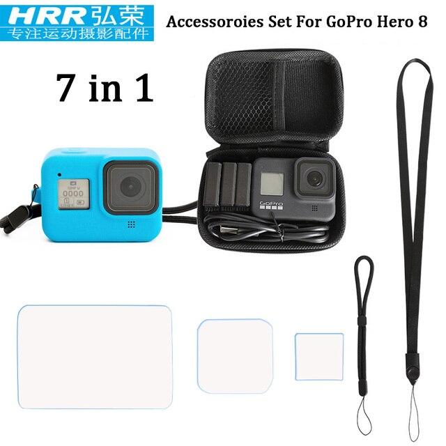 7in1 için GoPor kahraman 8 siyah Accessoires, silikon kapak/EVA durumda çantası/temperli cam ekran koruyucu/kordon/bilek kayışı git pro 8