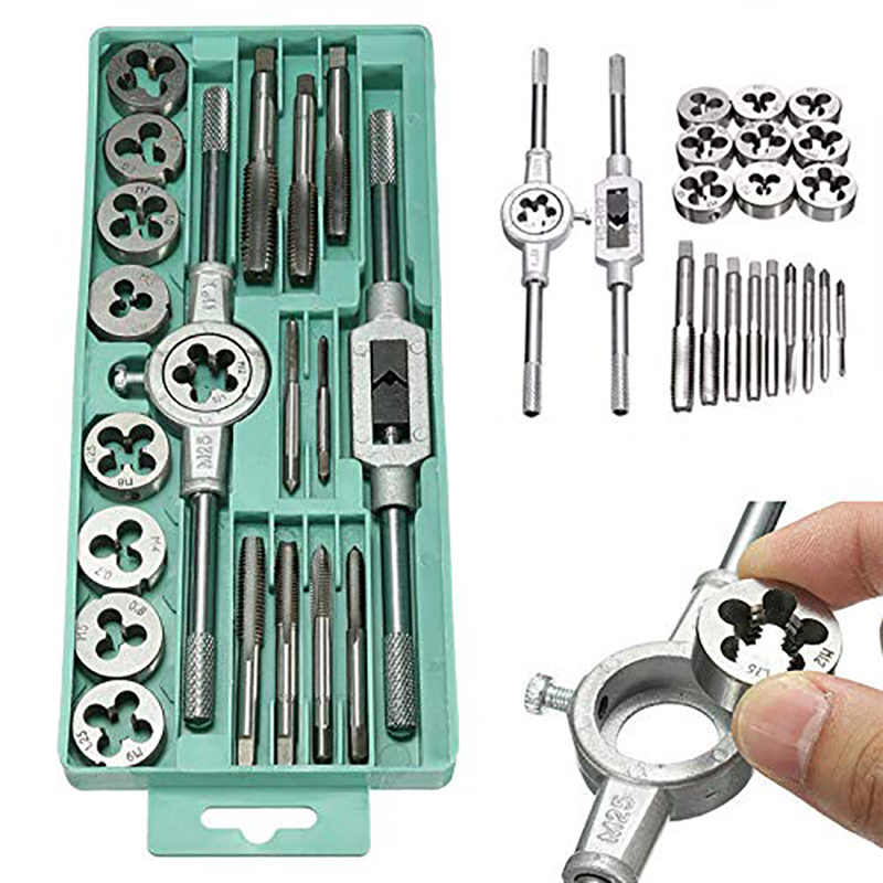 20/40pcs Tap Die Set Screw Thread Metric Taps Wrench Dies DIY Kit Wrench Screw Threading Hand Tools Alloy Metal With Bag