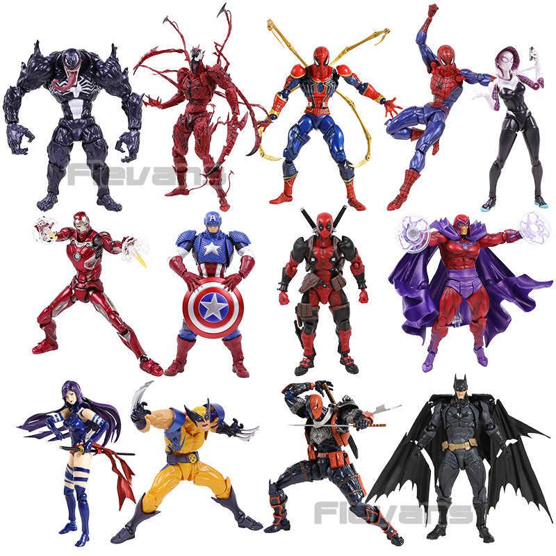 Revoltech Deadpool ولفيرين سبايدرمان الرجل الحديدي مغناطيسي الكابتن أمريكا المذبحة Psylocke Deathstroke المناورة PVC العمل FigureToy