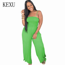 KEXU Bodysuits Spaghetti Strap Long Overalls Summer Beach Loose Female Jumpsuits Sleeveless Hollow Out Casual Boho Playsuits