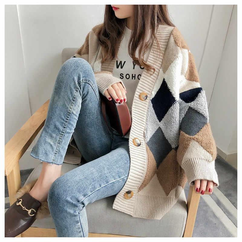 冬のセーターの女性 2019 ニット暖かい付きのセーターカジュアル韓国分厚い秋ファッションふわふわカーディガンセーター女性