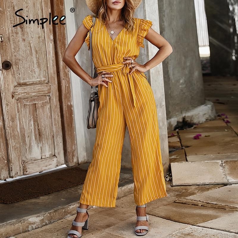 Simplee Elegant Striped Print Women Jumpsuits Ruffle Sleeve V Neck Cotton Jumpsuit Romper Streetwear Sash Ladies Pocket Overalls