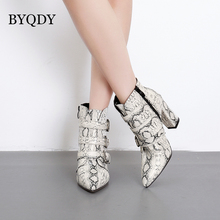 BYQDY Woman Autumn Ankle Boots Sexy Snake Pattern Leopard Buckle Pointed Thick High Heel Riding Snow MotherShoes