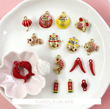 4pcs DIY Rat Chinese Style Jewelry Accessories Year Lucky Cat Pepper Mouse Bob Pendant Earrings Material image
