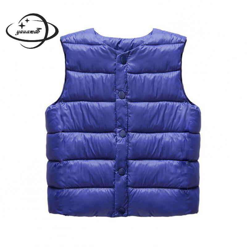 Outerwear Vests-Coats Kids Girls Boys Winter Children Casual O-Neck Solid Y10 Single-Breasted