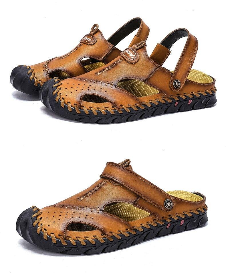 Sandálias de couro de vaca de verão