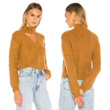 ALLNeon Casual Turtlenecks for Women Hollow Out Front Solid Knitted Sweater Fitted Female Pullovers Womens Fashion