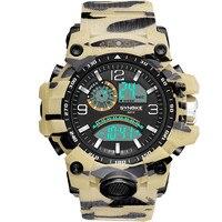 Relojes militares para hombre, deportivos al aire libre, impermeables, con pantalla Led de camuflaje, relojes de pulsera multifunción, esfera grande