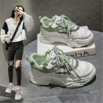 2020 Fashion Women's Chunky Sneakers Women Platform Shoes Lace Up Breathable Vulcanize Shoes Women Female Trainers Dad Shoes New