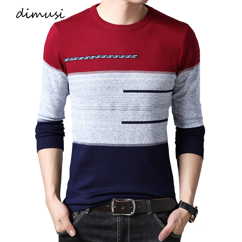 DIMUSI Autumn Winter Men Sweater Casual Turtleneck Striped O-Neck Shirt Sweaters Men's Slim Fit Brand Knitted Pullovers Clothing