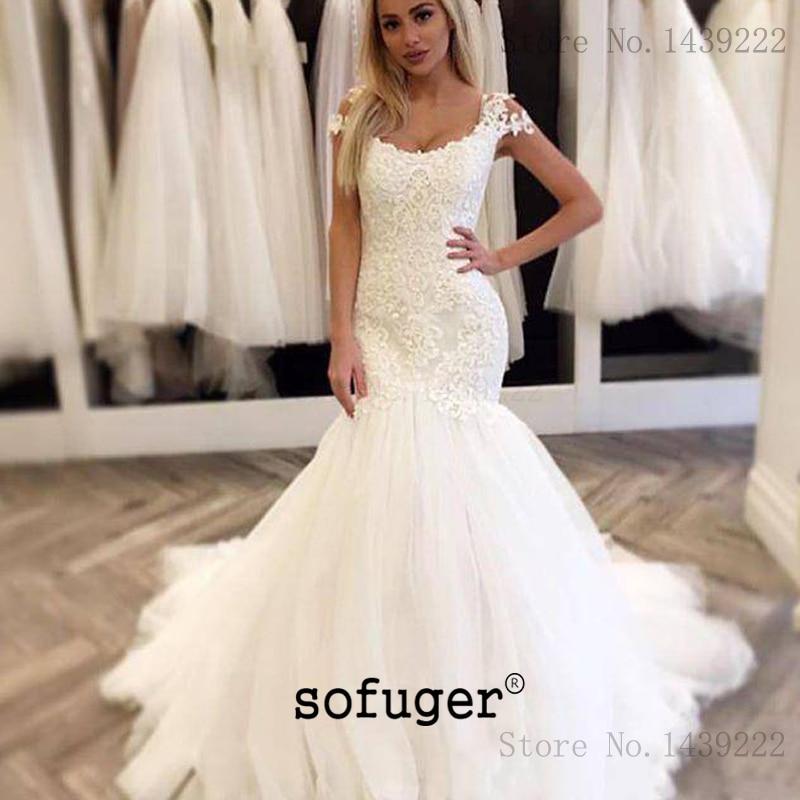 Graceful Lace Mermaid Wedding Dress Appliques Lace Up Cap Sleeves Robe De Mariee Sofuge Boho Dubai Arabic Abiti Da Sposa