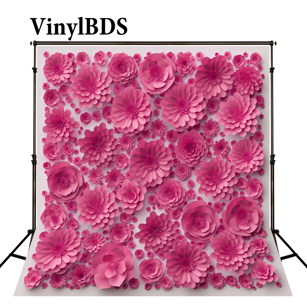 VinylBDS Backdrop Photography Background Pink 3d Flower Background Paper Flower Wedding Background for Photo Studio|background pink|flower background|wedding background -