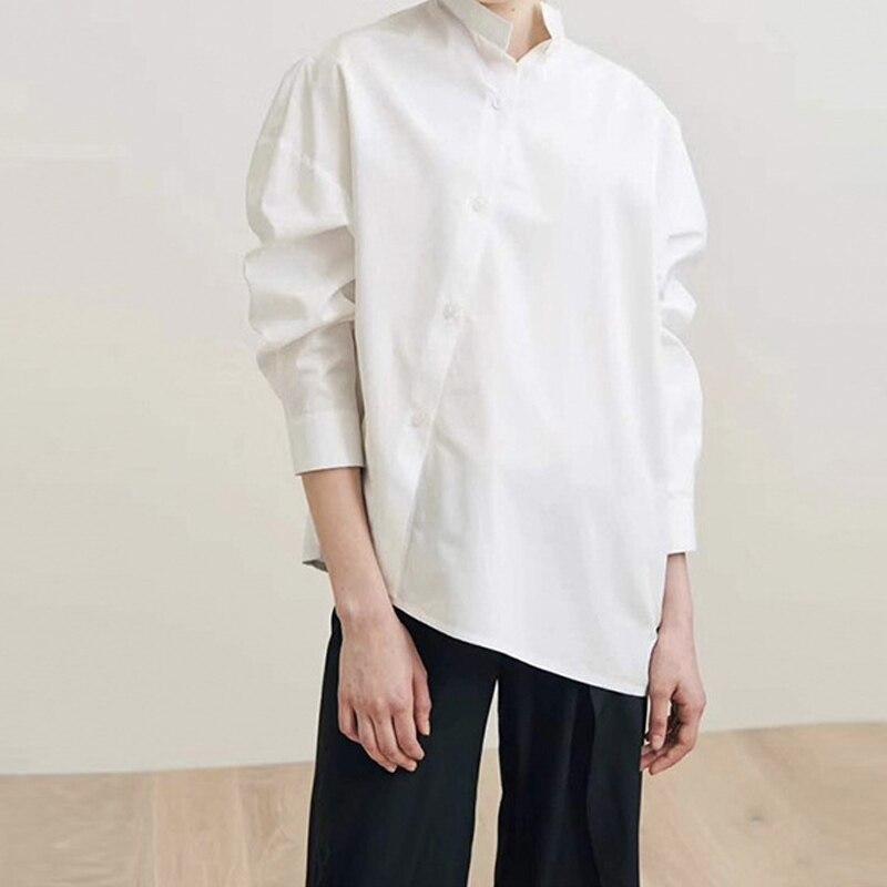 Women Shirt 2019 Skew Collar Long Sleeve Slung Silhouette Pure colors Cotton Blouse