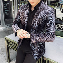 Blazer Hombre Plus Size 5xl Party Club Stage For Dj Singer Chaqueta Hombre 2020 Spring Autumn Leopard Print Blazer Masculino Men(China)