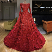 Dubai Red Sexy A Line Luxury Evening Dresses 2020 Long Sleeves Sequins Feathers Formal Dress Serene Hill HM67124
