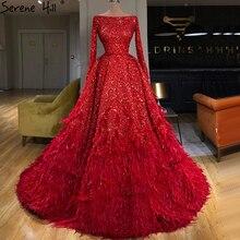 Dubai Red Sexy A lijn Luxe Avondjurken 2020 Lange Mouwen Pailletten Veren Formele Serene Hill HM67124