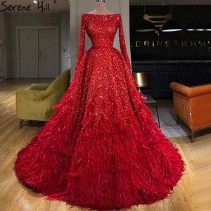 Image 1 - فساتين سهرة فاخرة على شكل حرف a مثيرة باللون الأحمر من دبي لعام 2020 فستان رسمي بأكمام طويلة مزين بالترتر الريش طراز Serene Hill HM67124
