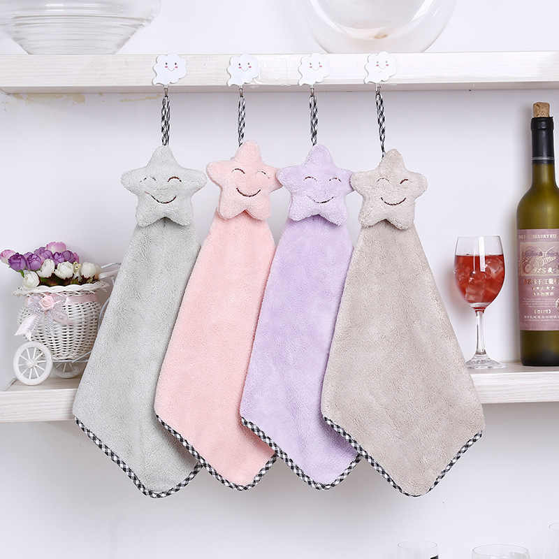 1pc Hanging Cute Smile Coral velvet Towel  Kitchen Quick-drying Smiling Face Hand Towels Absorbent Lint-Free Cloth Dishcloths