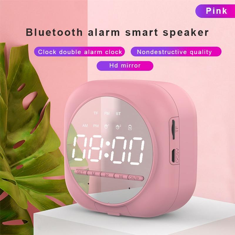 2020 New Smart Bluetooth Speaker Mirror Dual Alarm Clock Radio LED Portable Wireless Subwoofer Home Theater Ribbon Tweeter