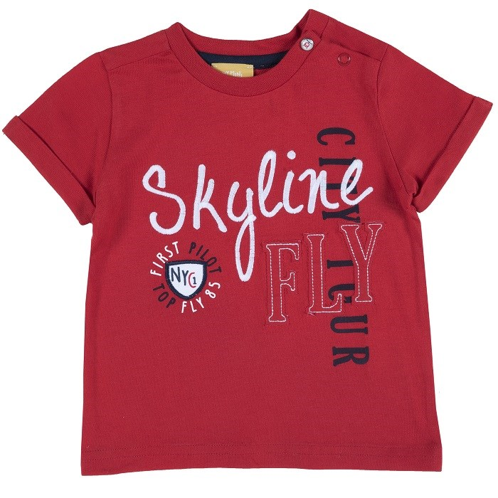 T-shirt Chicco, size 092, print skyline fly (red) plus size letter print striped t shirt