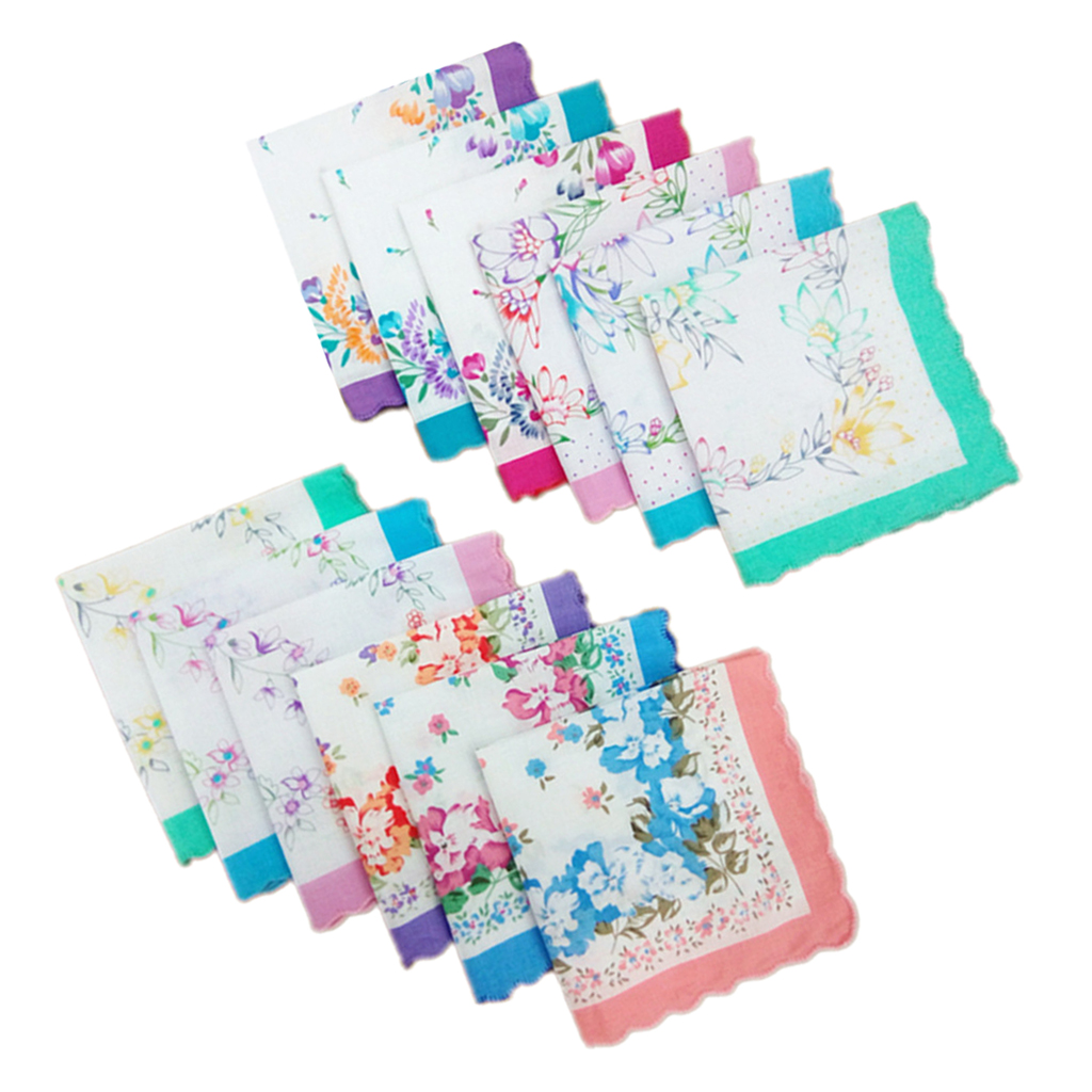 12x Women Handkerchiefs 100% Cotton Hankies Wedding  Square 30x30cm Embroidered Butterfly Flower Hanky Floral Assorted