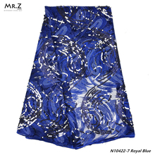 Mr.Z 2019 High-Quality Nigerian Royal Blue Tulle Lace Fabric For Women Dress 5yards