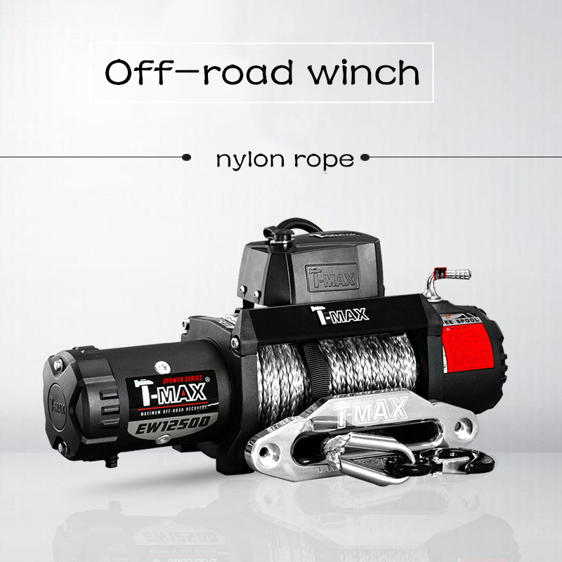 12v 12500 Pounds Nylon Rope Winch For Off-road Winch With Wireless Remote Control