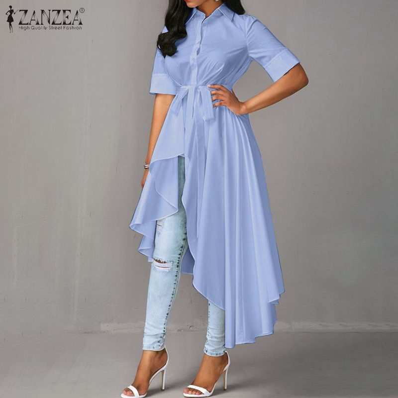 Stylish Irregular Shirts Women's Summer Blouse 2020 ZANZEA Casual Long Sleeve Work Blusas Female Button Down Tunic Plus Size 5XL
